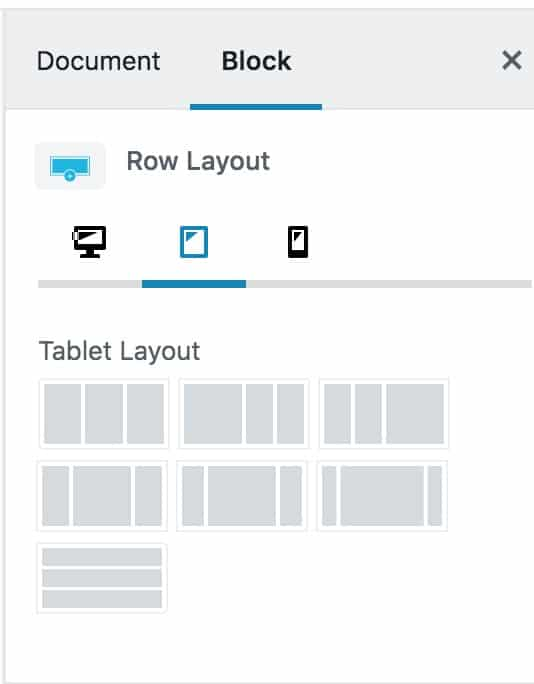 Tablet Row Settings