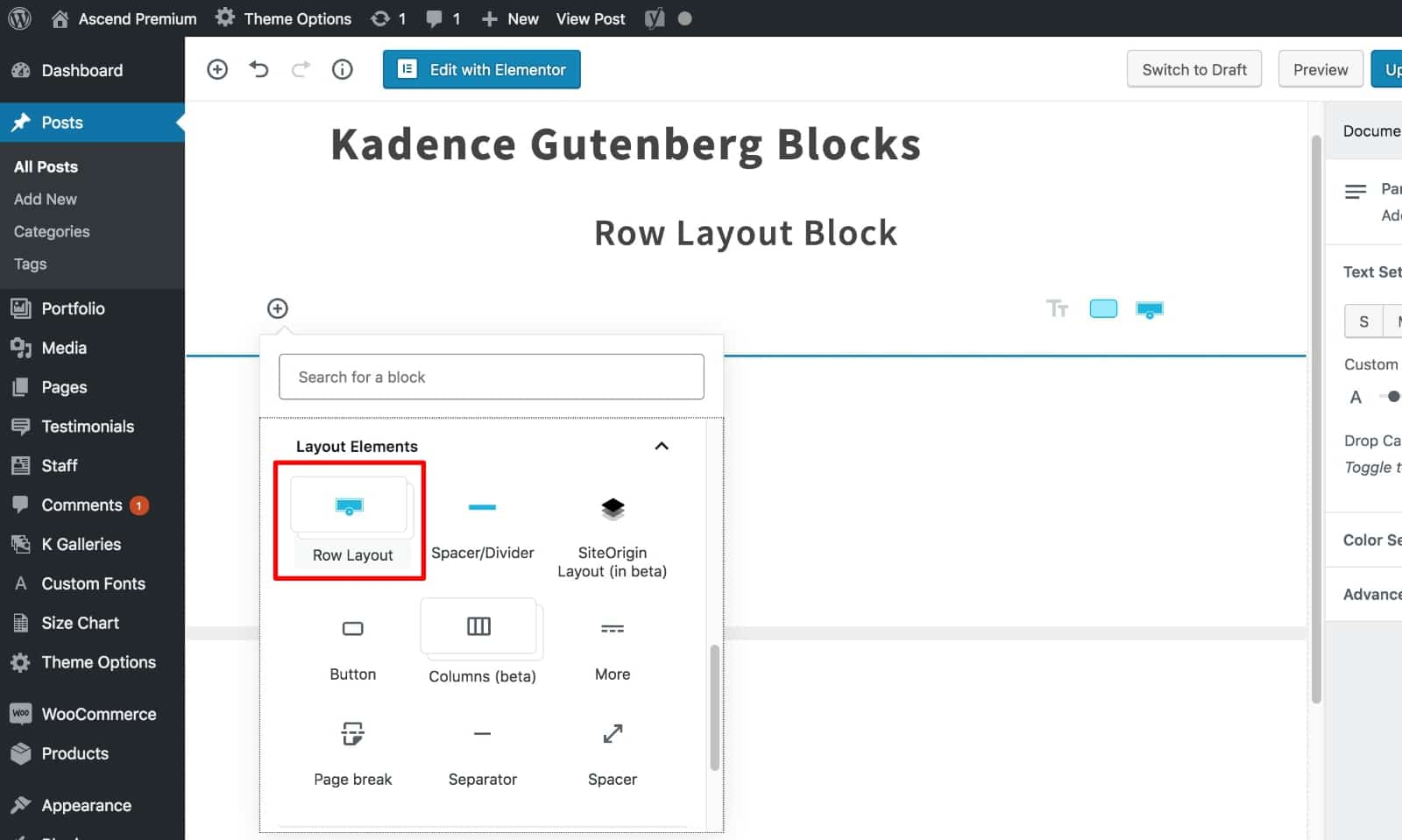 Select Row Layout Block Kadence