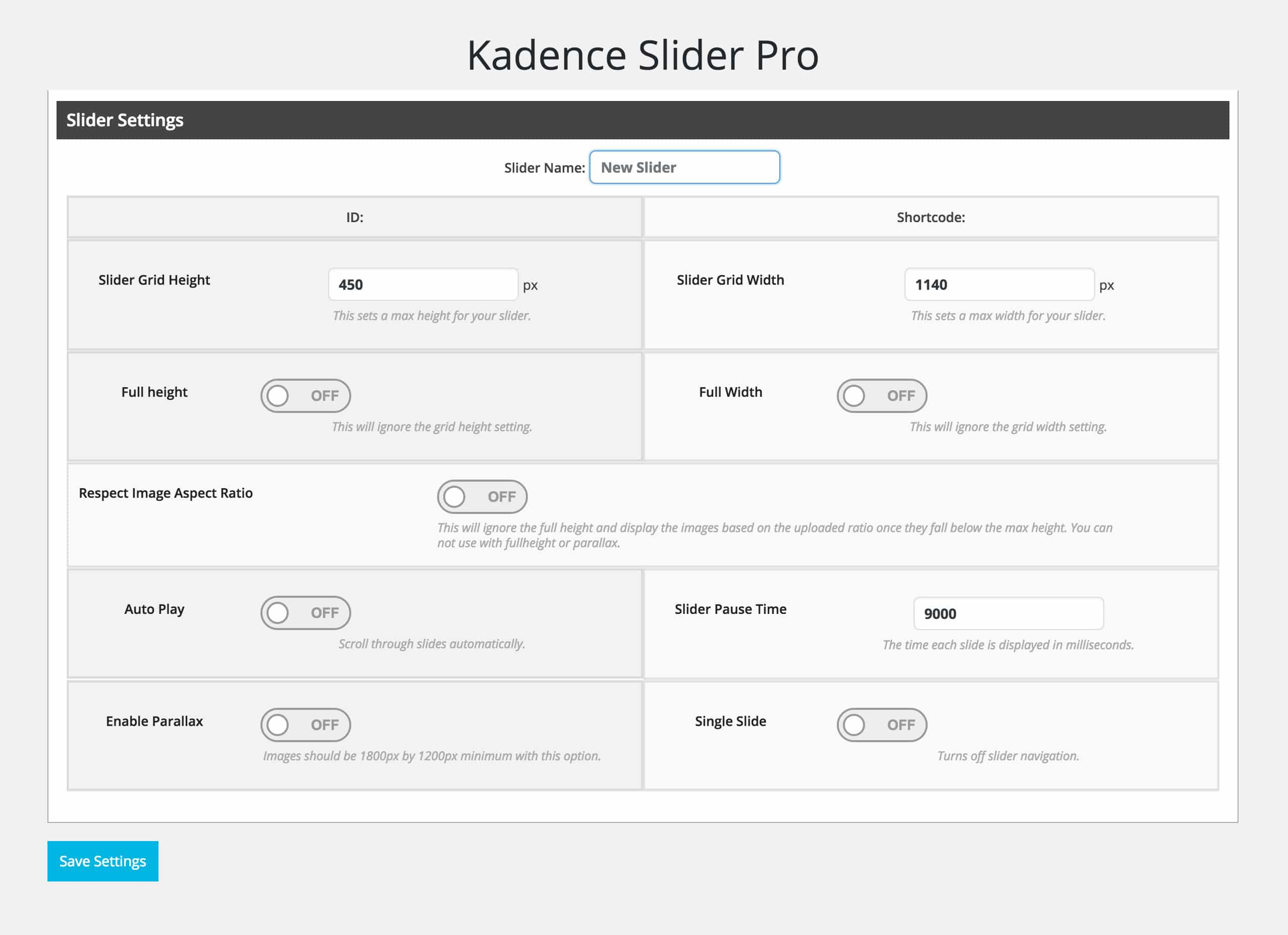 Slider Settings Panel