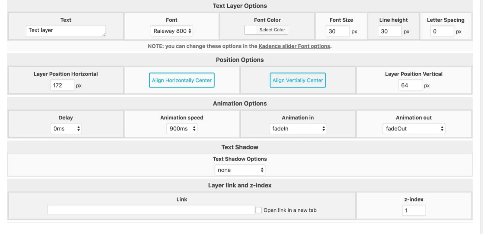 Layer Options Kadence Slider